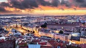 Lisbon historic city at sunset, Portugal, Time lapse