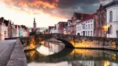 Time lapse of Bruges, Belgium - Scenic cityscape with canal Spiegelrei