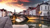 Bruges cityscape, Belgium at sunset, Time lapse