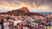 alicante : Alicante - Spain, View of Santa Barbara Castle on Mount Benacantil, Time lapse
