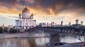 salvador : Moscow, Russia - Sunset view of Cathedral of Christ the Savior, Time lapse 4K Vídeos