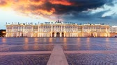 Russia - St. Petersburg, Winter Palace - Hermitage, Time lapse at sunrise
