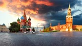 Russia - Moscow in red square with Kremlin and St. Basils Cathedral, Time lapse at sunset, nobody