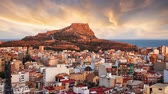 Alicante - Spain, View of Santa Barbara Castle on Mount Benacantil, Time lapse