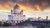 Cathedral of Christ the Saviour in Moscow, Russia - Time lape