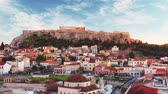 Athens - panoramic view of Monastiraki square and the Acropolis, Greece, Time lapse