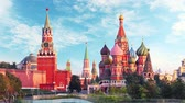Moscow, Russia - Red square view of St. Basils Cathedral at day, Time lapse