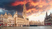 belga : Brussels grand square at sunset, Time lapse