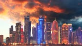 arabic design : Skyline of modern city of Doha in Qatar, Middle East - Time lapse at sunset