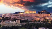Time lapse  of Athens - Acropolis at sunset, Greece 무비클립