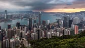Time lapse - Hong Kong skyline at dramatic sunrise from Victoria peak, China 무비클립