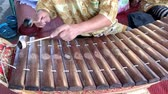 BANGKOK THAILAND - JANUARY 1 : Musician playing wooden Alto xylophone (Ranat), Thai tradition music instrument on January 1, 2019 in Bangkok, Thailand.