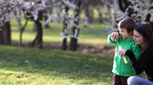 florescente : Two boys in the park and their mum, blowing and chasing soap bubbles Stock Footage