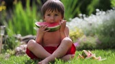 slices : Boy, eating watermelon in the garden, summertime Stock Footage