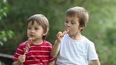 Боке : Adorable boys, licking lollipops outside on a sunny day
