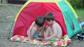 namiot : Two boys, playing on tablet in a tent in the backyard, summertime
