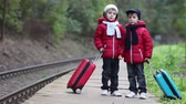 trilho : Two cute boys on railway with suitcases, running after a train, autumn time