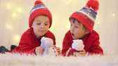 cortina : Sweet children, brother boys, playing with handmade snowmen at home, christmas lights behind them