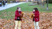 activities : Two kids, boy brothers, playing with leaves in autumn park, sunny afternoon