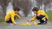 duck : Two adorable children, boy brothers, playing in park with rubber ducks, having fun. Childhood happiness concept Stock Footage