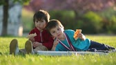 pizza cheese : Two little boys having dinner with pizza on sunset, picnic on the grass springtime in blooming garden