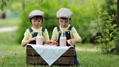 sedento : Two beautiful children, boy brothers, eating strawberries and cookies and drinking smoothie in the park in late sunny spring afternoon