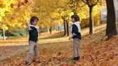 novembro : Two fashionable cute kids, throwing leaves in the park, having fun Stock Footage