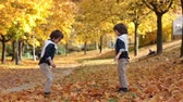 setembro : Two fashionable cute kids, throwing leaves in the park, having fun Stock Footage