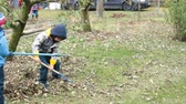 maintenance : Young children,  boys, raking leaves in the garden