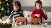конфеты : Adorable preschool children, boy brothers, decorating gingerbread houses for Christmas at home, christmas tree behind them, advent candles on the table