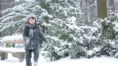 puxando : Happy little child, boy, playing outdoors in a snowy park, wintertime