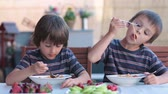 talharim : Cute children, preschool boys, eating spaghetti for lunch outdoors in garden, summertime