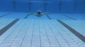 fitness : young man swimming in the swimming pool Stock Footage