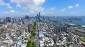 Aerial view of kaohsiung city and harbor. Taiwan. Wideo