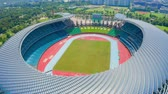 game field : Aerial View of Kaohsiung National Stadium (World Games Stadium). solar panel on the roof