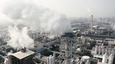 hava : Aerial view of industrial area with chemical plant. Smoking chimney from factory Stok Video