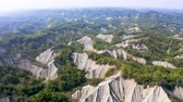 field : Aerial view of Tianliao Moon World. Volcano mud and limestone area. Kaohsiung. Taiwan