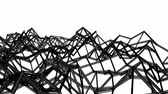на линии : black abstraction three-dimensional mesh slowly deformed on a white background. animated. 3d render