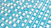vliegen : white cubes surrounded by a frame slowly moving on a turquoise background. 3d render