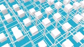 moving down : white cubes surrounded by a frame slowly moving on a turquoise background. 3d render