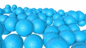 küreler : bunch of turquoise three-dimensional spheres slowly moving. 3d render Stok Video
