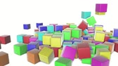 падение : colored cubes scattering on a white. 3d render