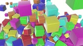 crumble : colored cubes scattering on a white. 3d render