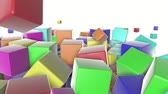 para baixo : colored cubes scattering on a white. 3d render