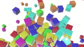 ジャンプ : colored cubes scattering on a white. 3d render