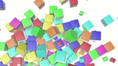 los : colored cubes scattering on a white. 3d render