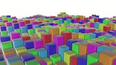 sinekler : multicolored three-dimensional cubes slowly fly. abstract animation. 3d rendering Stok Video
