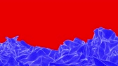 red square : blue wave plane moves on a red background. animation. 3d rendering Stock Footage