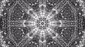 sfondo : Animated kaleidoscope screensaver of white round particles. abstract. 3d rendering Filmati Stock