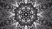 movimento circular : Animated kaleidoscope screensaver of white round particles. abstract. 3d rendering Stock Footage